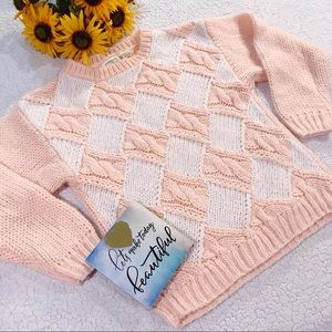 Chunky soft pink and white sweater